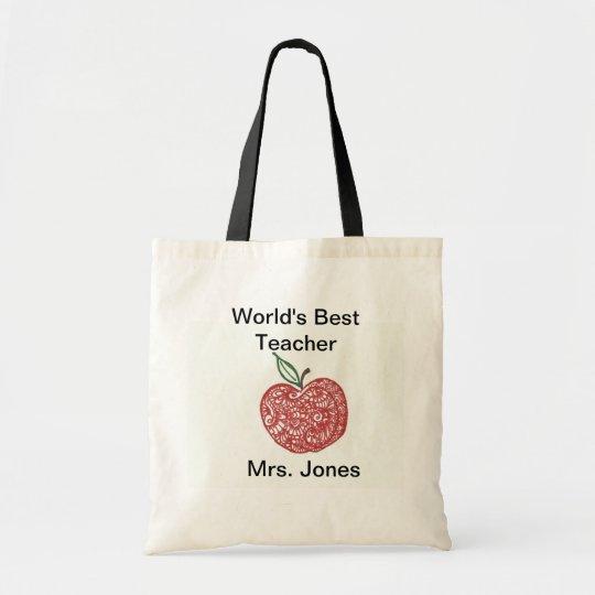 Red Apple Doodle World's Best Teacher Tote