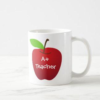 Red apple for A+ teacher appreciation custom name Basic White Mug