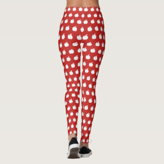 Red apple fruit pattern custom yoga and workout leggings