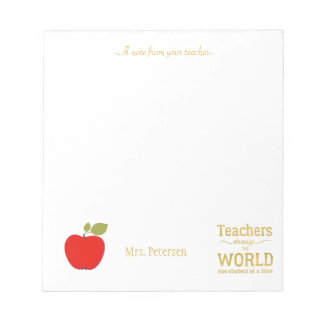 Red apple gold quote and your text teacher notepad