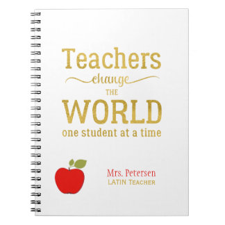 Red apple gold quote stylish university teacher notebooks