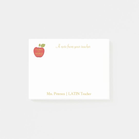 Red apple gold typography quote teacher post-it notes