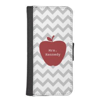 Red Apple Gray Chevron Teacher iPhone SE/5/5s Wallet Case