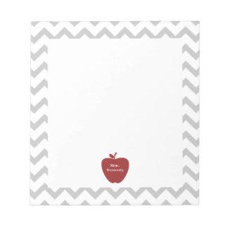 Red Apple Gray Chevron Teacher Notepad