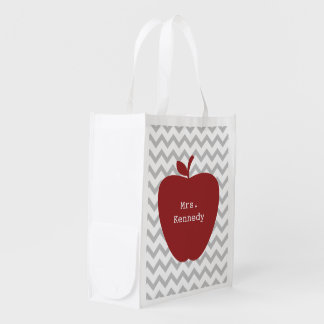Red Apple Gray Chevron Teacher Reusable Grocery Bag
