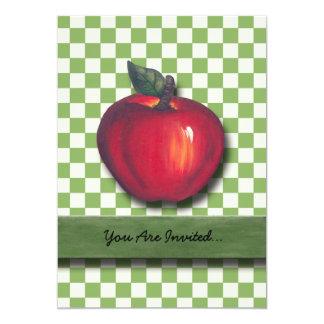 Red Apple Green Checks 13 Cm X 18 Cm Invitation Card
