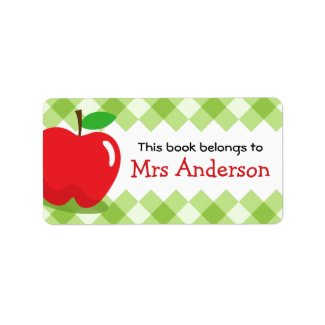 Red apple green gingham bookplate book