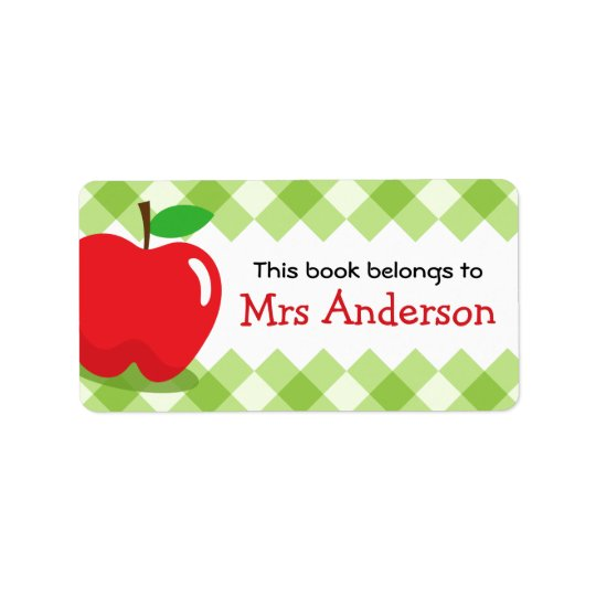 Red apple green gingham bookplate book address label