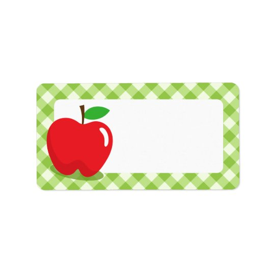 Red apple green gingham pattern border blank address label