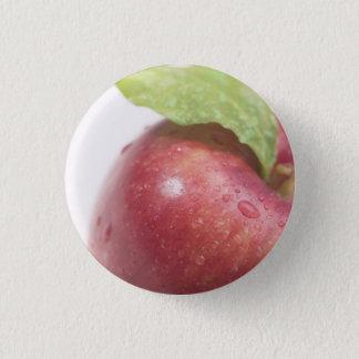 Red Apple Green Leaf 3 Cm Round Badge