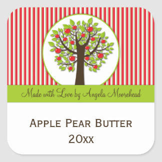 Red Apple Green Leaves Food Sticker