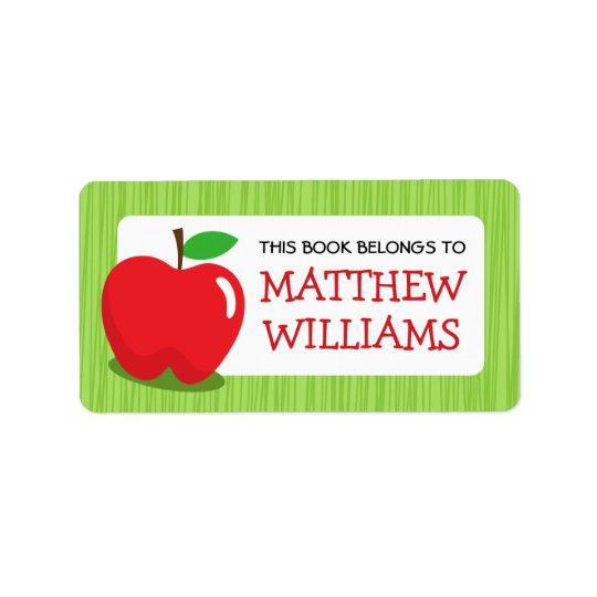 Red apple green textured border bookplate book label