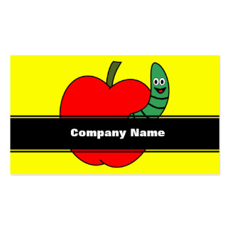 Red Apple Green Worm Pack Of Standard Business Cards