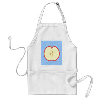 Red Apple Half Blue Swirl Pattern Background Apron