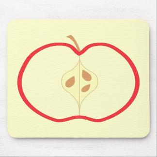 Red Apple Half, on cream background. Mousepad
