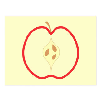 Red Apple Half, on cream background. Postcards