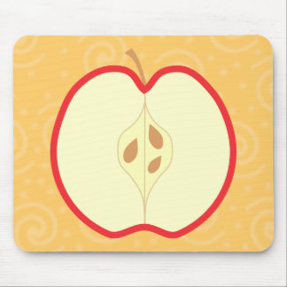 Red Apple Half. Swirl Pattern Background. Mouse Pad