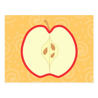 Red Apple Half Swirl Pattern Background Post Card