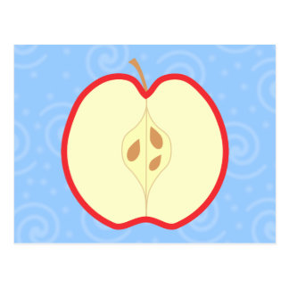 Red Apple Half Swirl Pattern Background Postcard