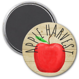 Red Apple Harvest Wooden Sign Magnet