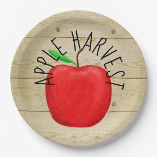 Red Apple Harvest Wooden Sign Paper Plates