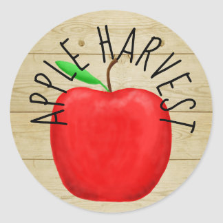 Red Apple Harvest Wooden Sign Sticker