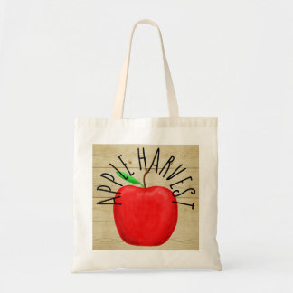 Red Apple Harvest Wooden Sign Tote Bag