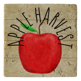 Red Apple Harvest Wooden Sign Trivet