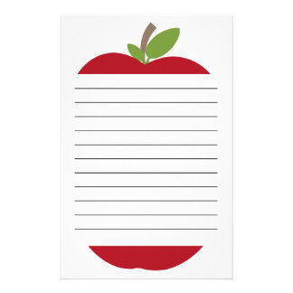 Red Apple Lined Stationery