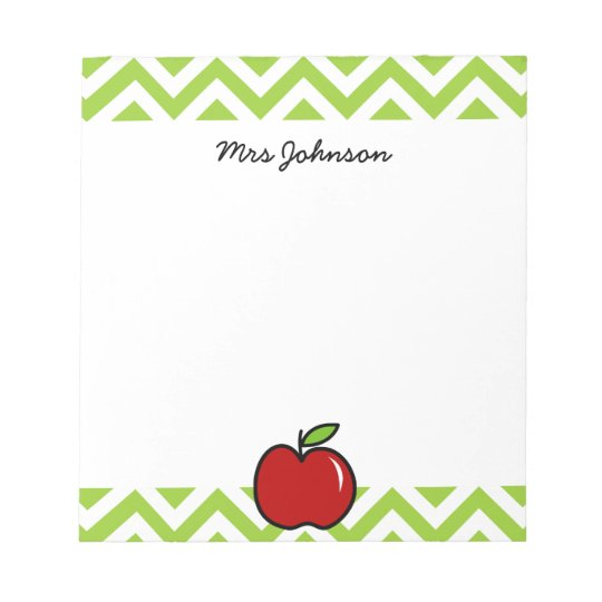 Red apple notepad for teacher | Personalised name