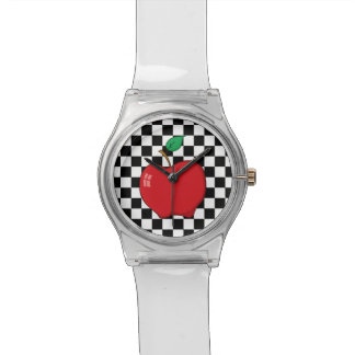 Red Apple on Black and White Checkerboard Watch
