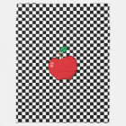 Red Apple on Black and White Chequerboard Fleece Blanket