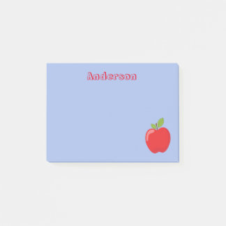 Red Apple on Blue Background Post-it Notes