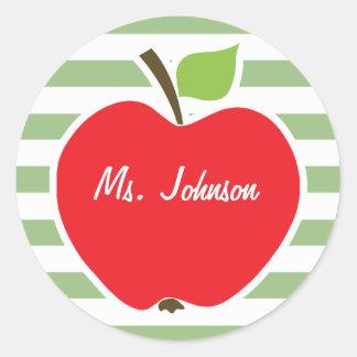 Red Apple on Laurel Green Horizontal Stripes Sticker