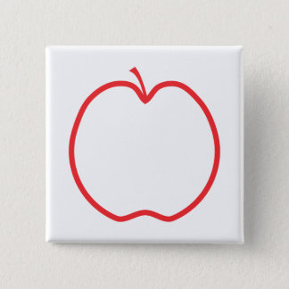 Red Apple Outline. 15 Cm Square Badge