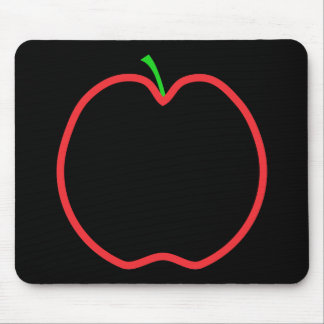 Red Apple Outline. Black center, Green stem. Mouse Mat