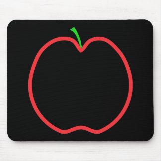 Red Apple Outline. Black center, Green stem. Mouse Pad