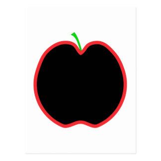 Red Apple Outline. Black center, Green stem. Postcard