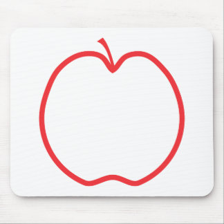 Red Apple Outline Mouse Pads