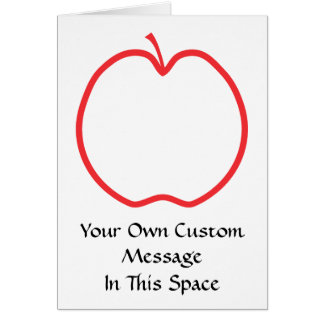 Red Apple Outline, on white background. Card