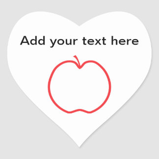 Red Apple Outline, on white background. Heart Sticker