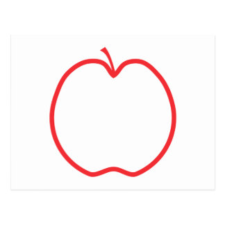 Red Apple Outline, on white background. Postcard