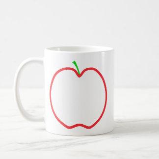 Red Apple Outline. White center, Green stem. Coffee Mug