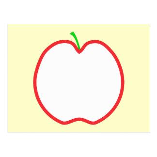 Red Apple Outline. White center, Green stem. Postcard