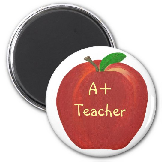 Red Apple Painting, A+ Teacher magnets