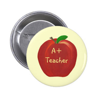 Red Apple Painting, A+ Teacher pin on buttons