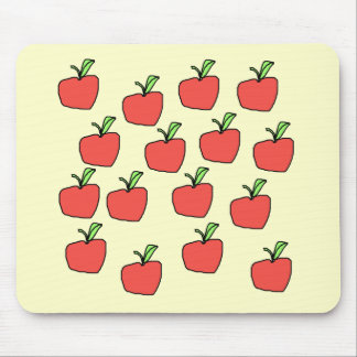 Red apple pattern, on cream. mouse mat