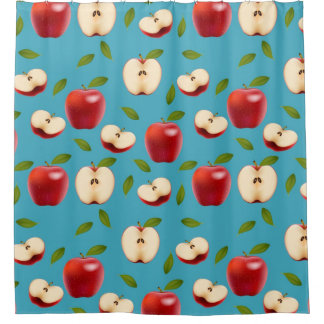 Red Apple Pattern Shower Curtain