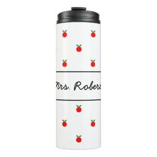 Red apple pattern thermal tumbler mug for teacher