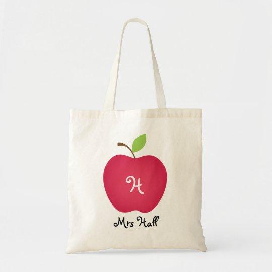 Red Apple Personalised Teacher's Tote